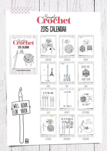 Obey Crochet 2015 calendar available in Simply Crochet magazine issue #25