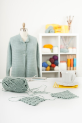 My First Crochet Cardigan with Sara Delaney class and full materials kit available from Craftsy